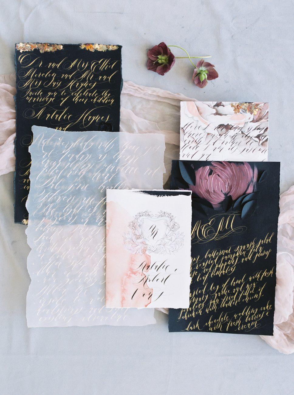 Moody Black Wedding Inspiration_black wedding invitations with gold foil