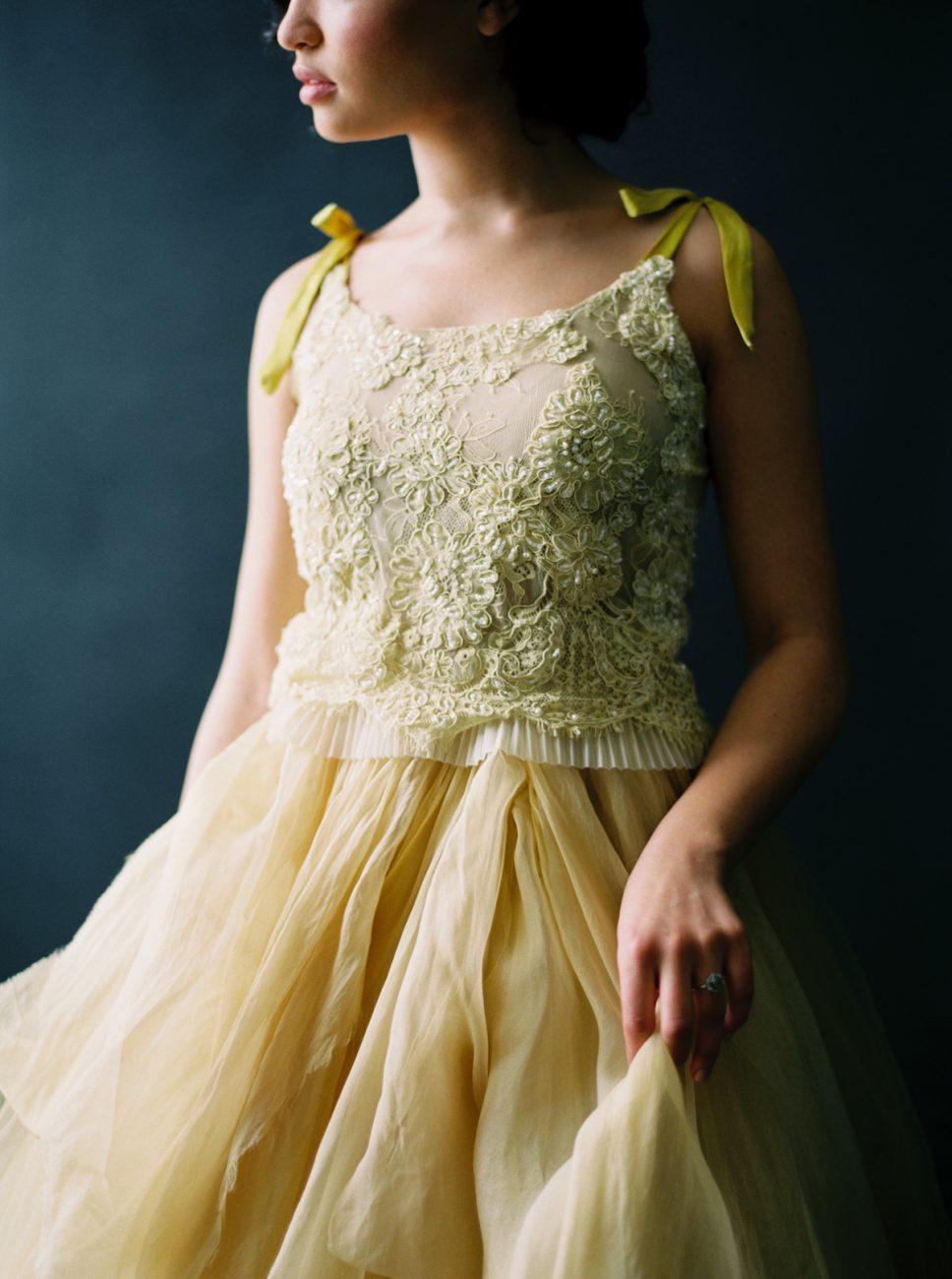 Moody Black Wedding Inspiration_yellow wedding dress