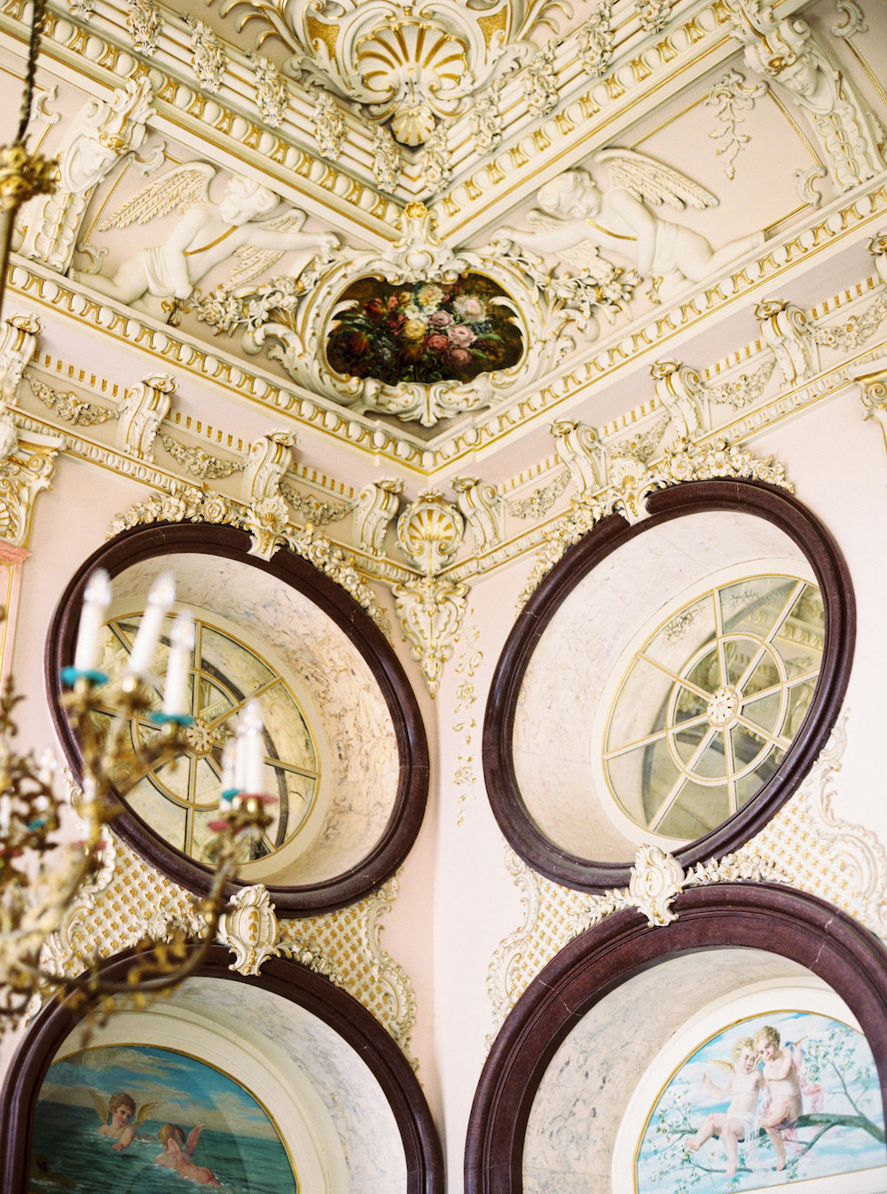 London Wedding Invitations ceiling detail from inside a palace in Portugal