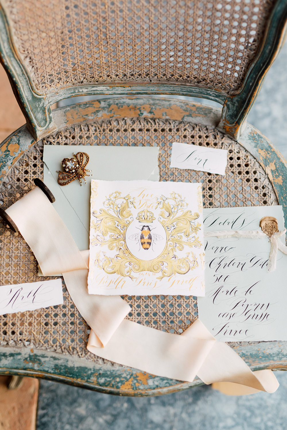 London Wedding Invitations with a save the date card with gold antique French bee design