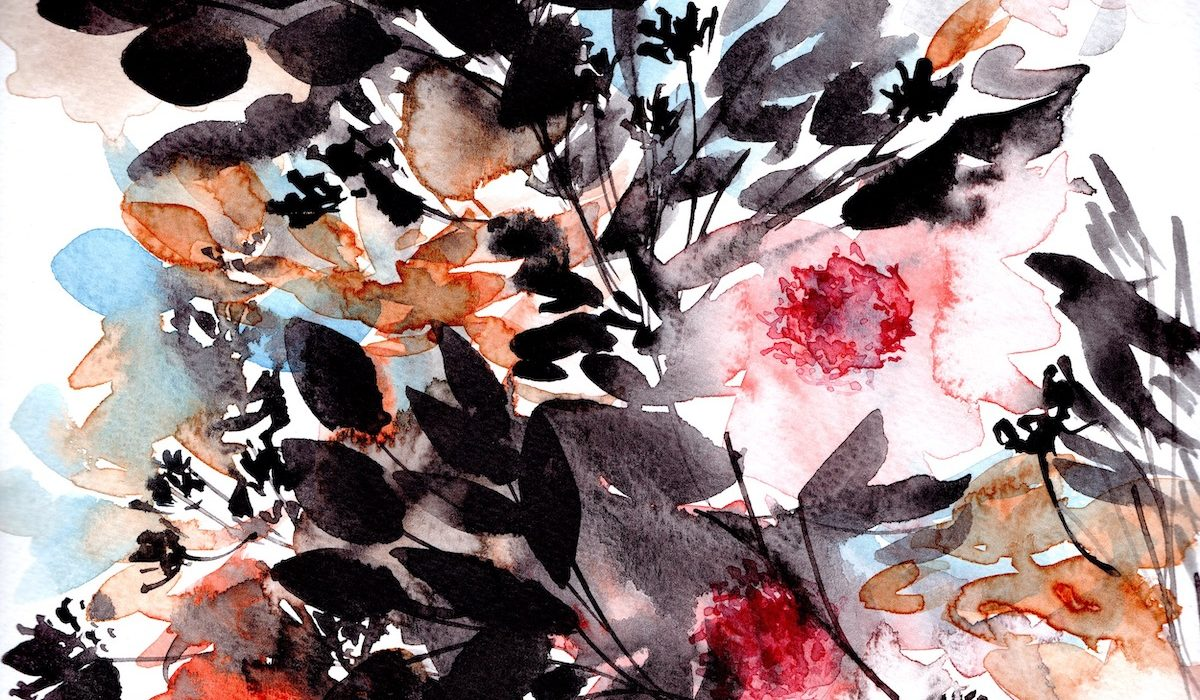 Abstract Floral illustrations with pink flowers and orange leaves copy
