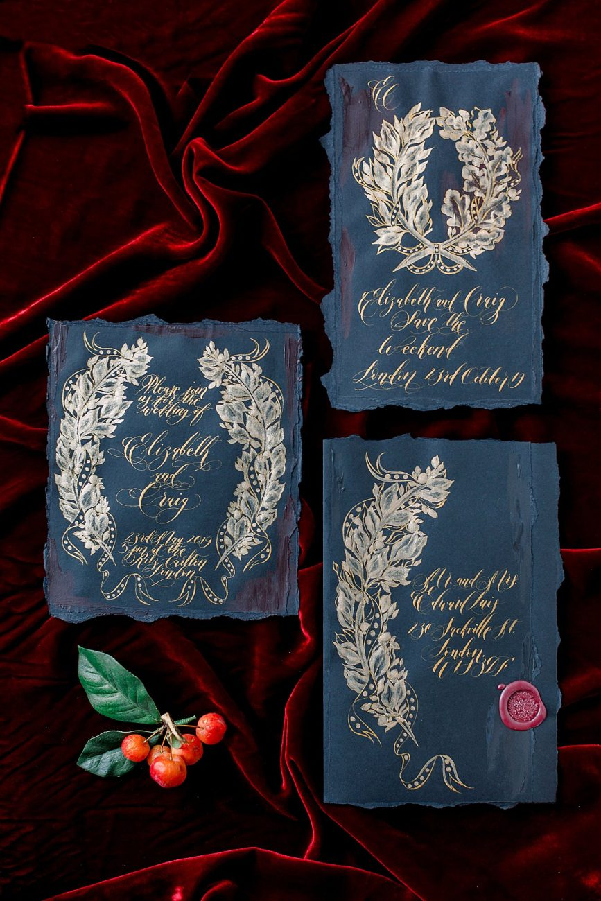 Baroque Wedding black wedding invitation suite with large envelope