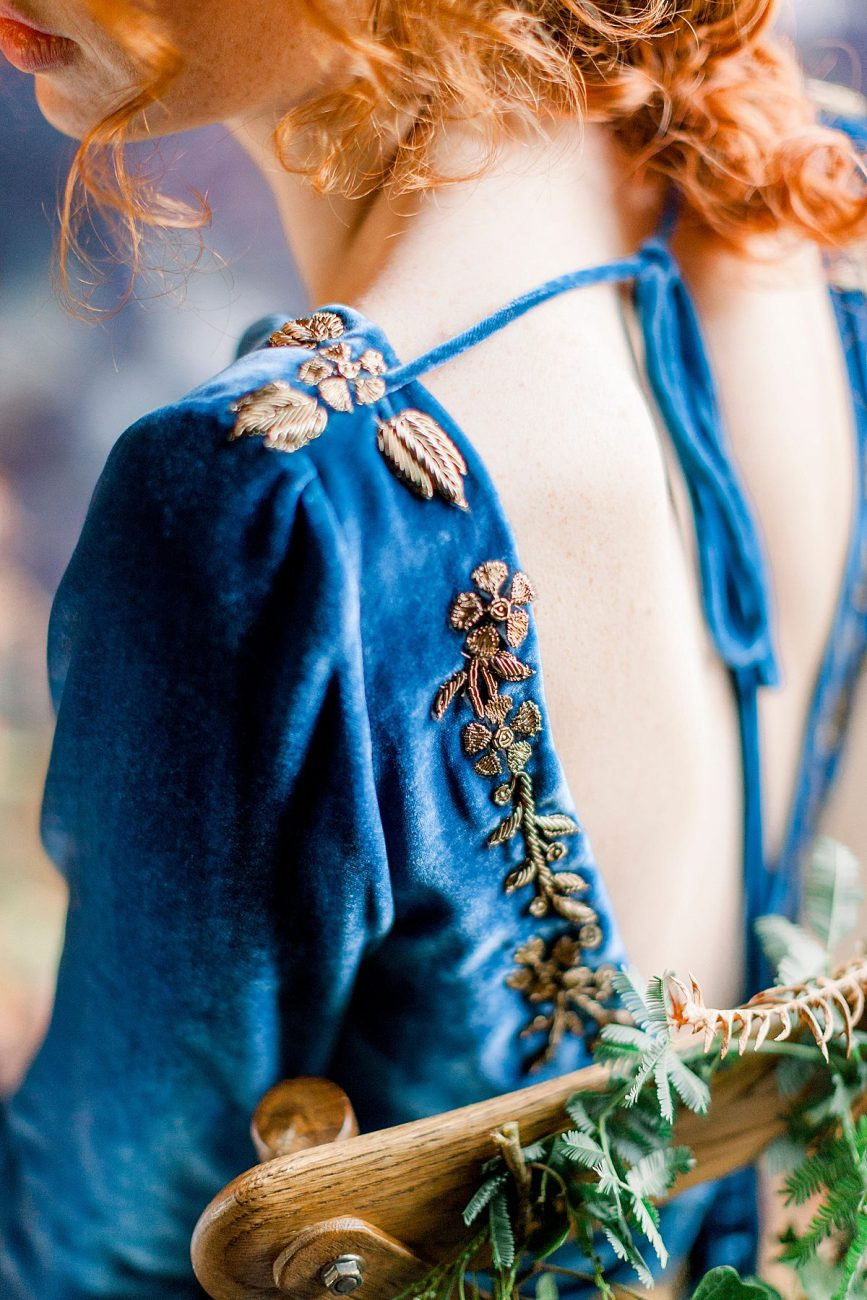 Baroque Wedding bride with blue velvet dress with gold embroidery