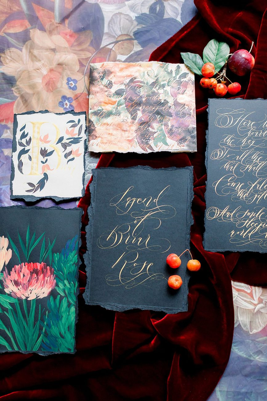 Baroque Wedding featuring a hand painted watercolour invitation wrap