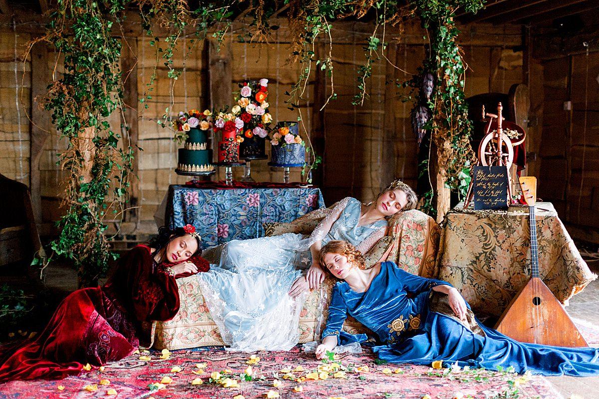 Baroque Wedding medieval scene with brides sleeping
