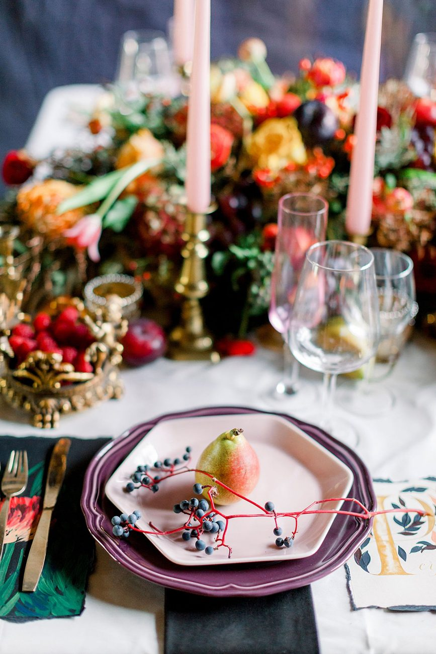 Baroque Wedding with table setting and place card setting details