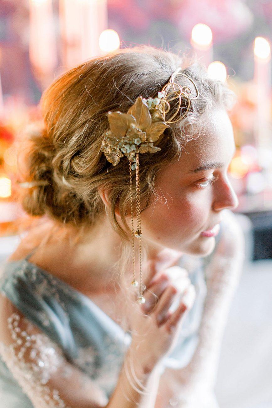 Baroque wedding ideas with bride wearing an antique gold head piece