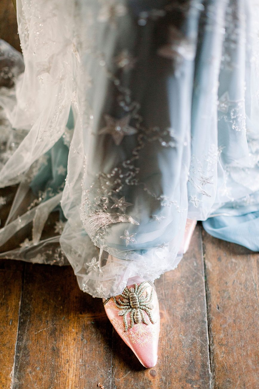 Baroque wedding style shoes with pale blush and gold spider
