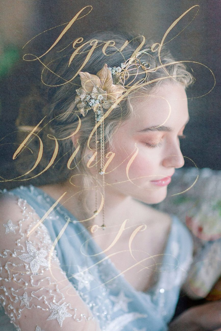 Baroque wedding styled shoot with gold calligraphy superimposed over a photograph