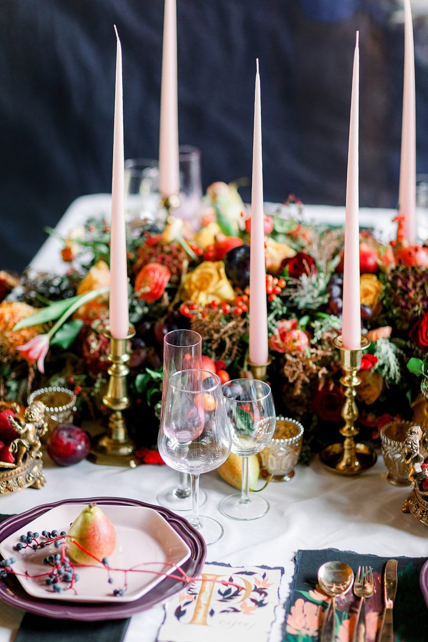 Baroque wedding table decor inspiration with pink candles and gold candle holders