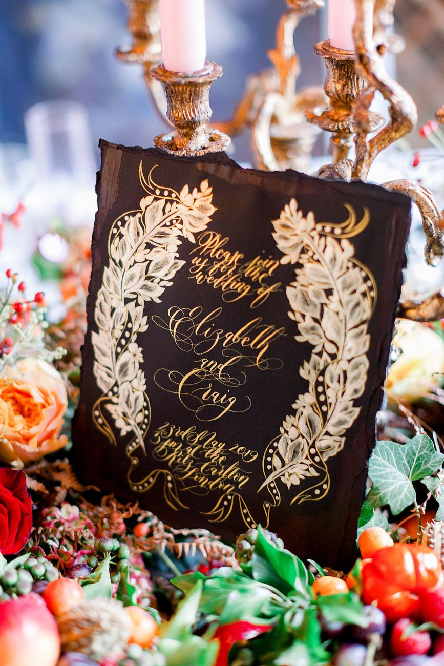 Baroque wedding table setting decor ideas with lots of florals and fruit