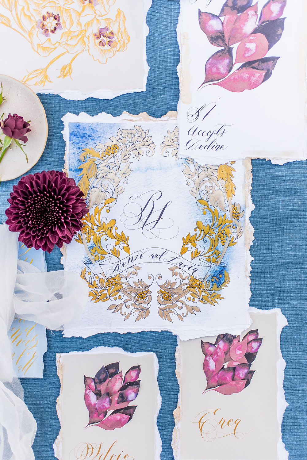 Vow Renewal Invitations blue and gold wedding invitations with red accents