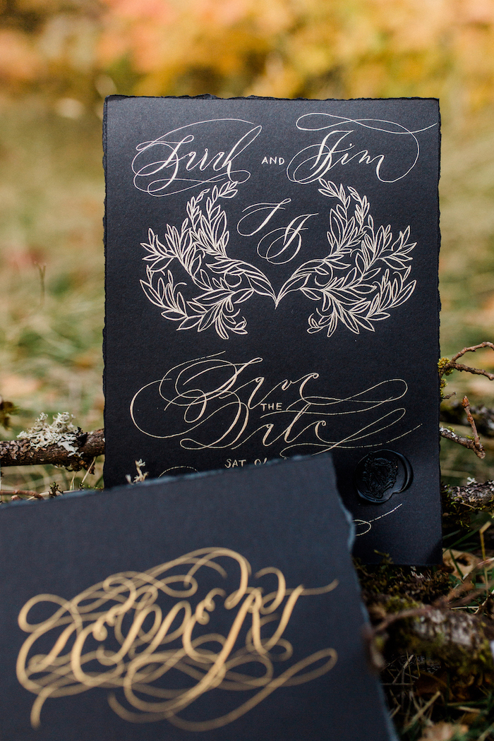 Black wedding invitation with gold calligraphy with wedding invitation wording example