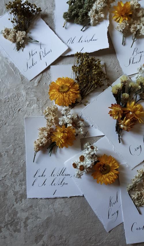 Bespoke handmade escort cards with flowers