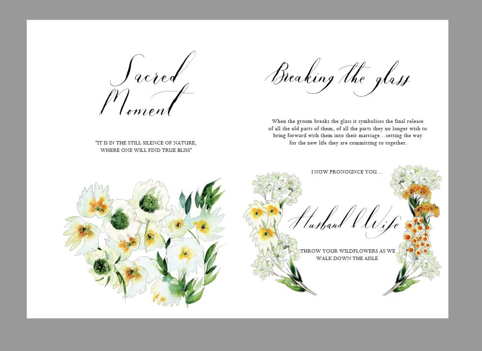 Bespoke wedding stationery design layout