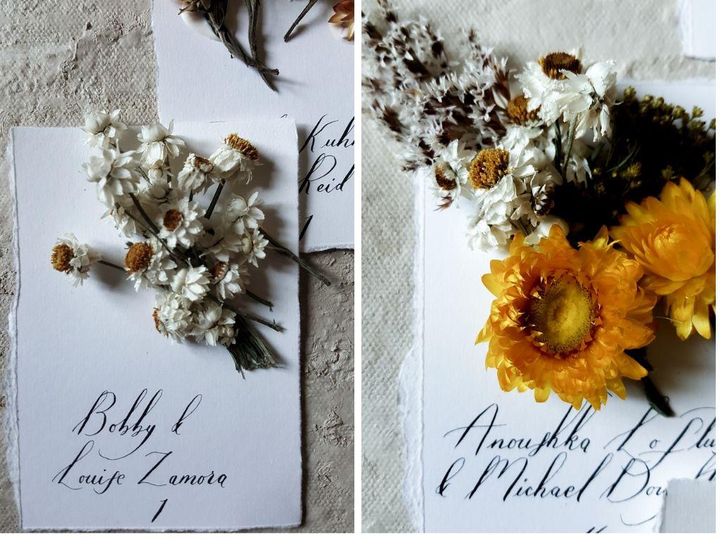 Bespoke wedding stationery handmade escort cards with dried flowers