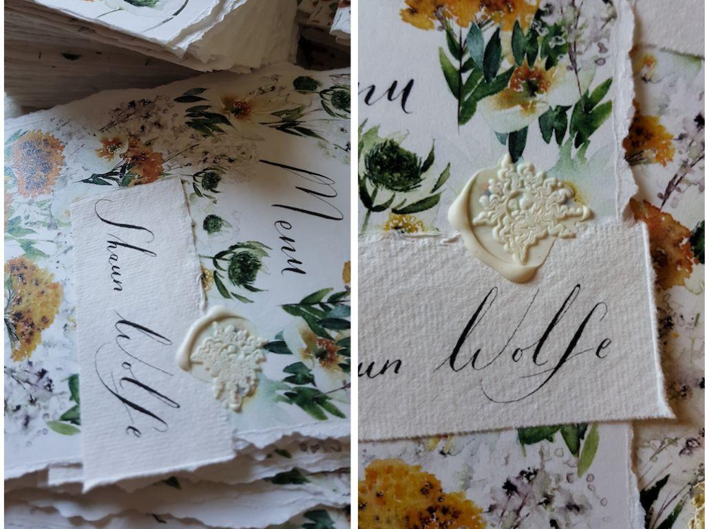 Close up views of wedding menus