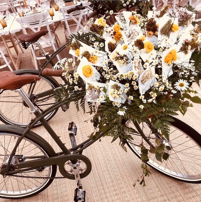 Escort cards displayed in a bicycle's basket