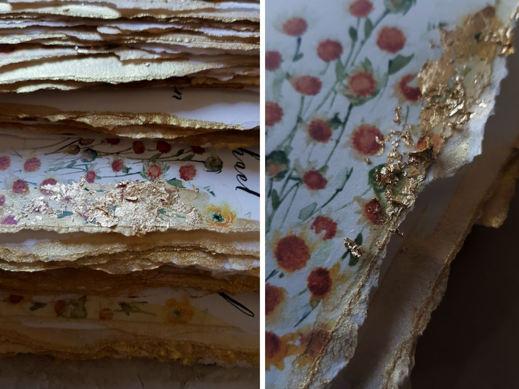 Hand deckled edges painted in gold