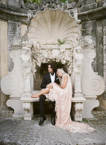 Recently Engaged Bride And Groom At The Vizcaya Wedding Venue In Miami