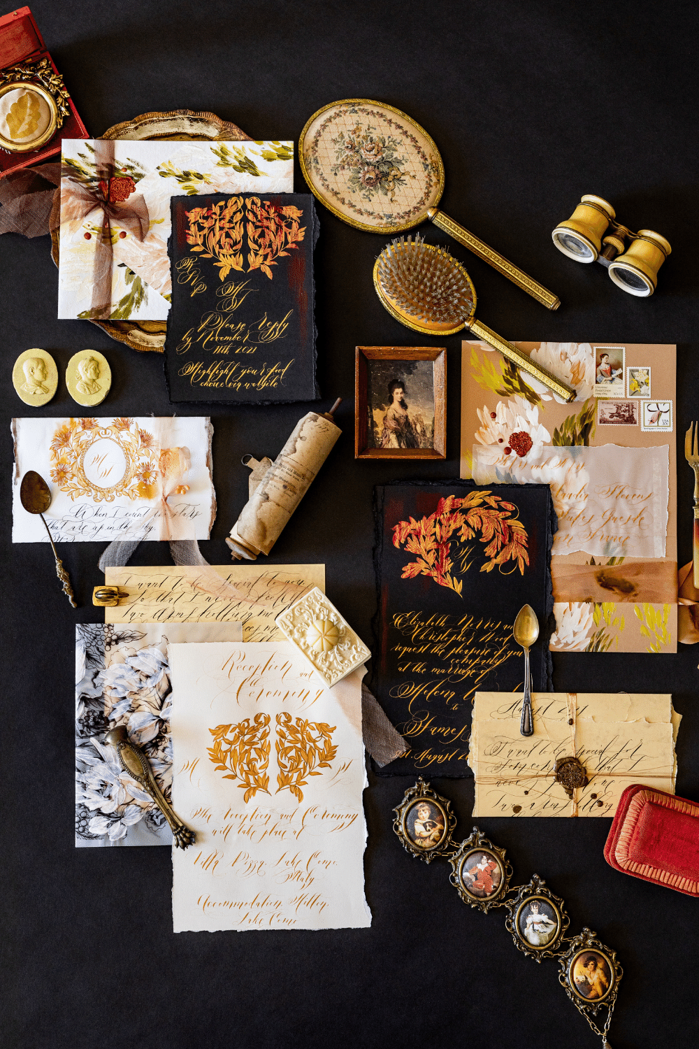 Luxury Italian wedding stationery with black and gold, deep camel colours and floral design