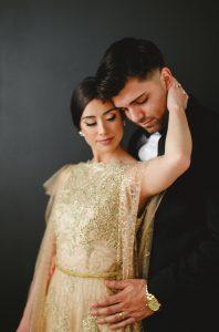 Hand Painted Wedding Invitations bride and groom