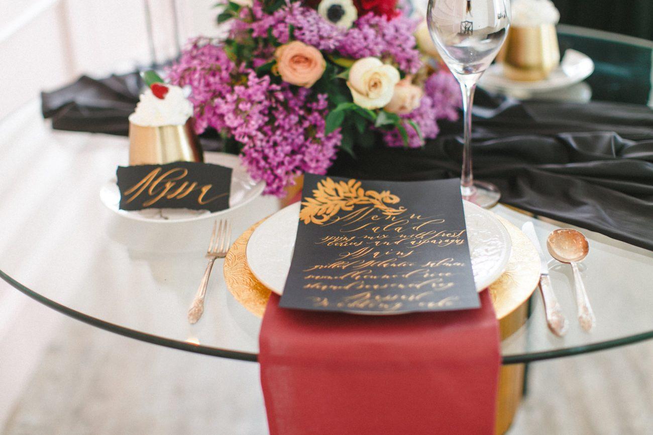 Hand Painted Wedding Invitations couple menu on table