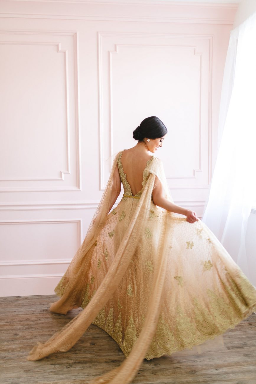 Hand Painted Wedding Invitations gold dress