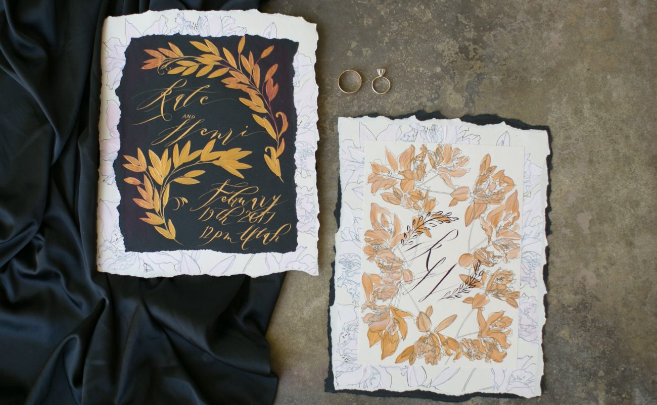 Hand Painted Wedding Invitations main cards