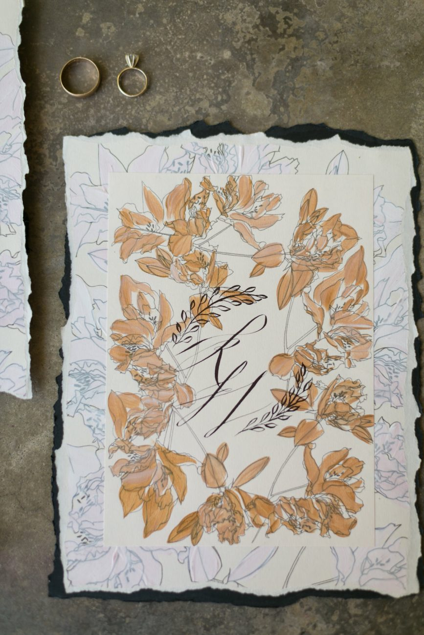 Hand Painted Wedding Invitations monogram card with gold flowers