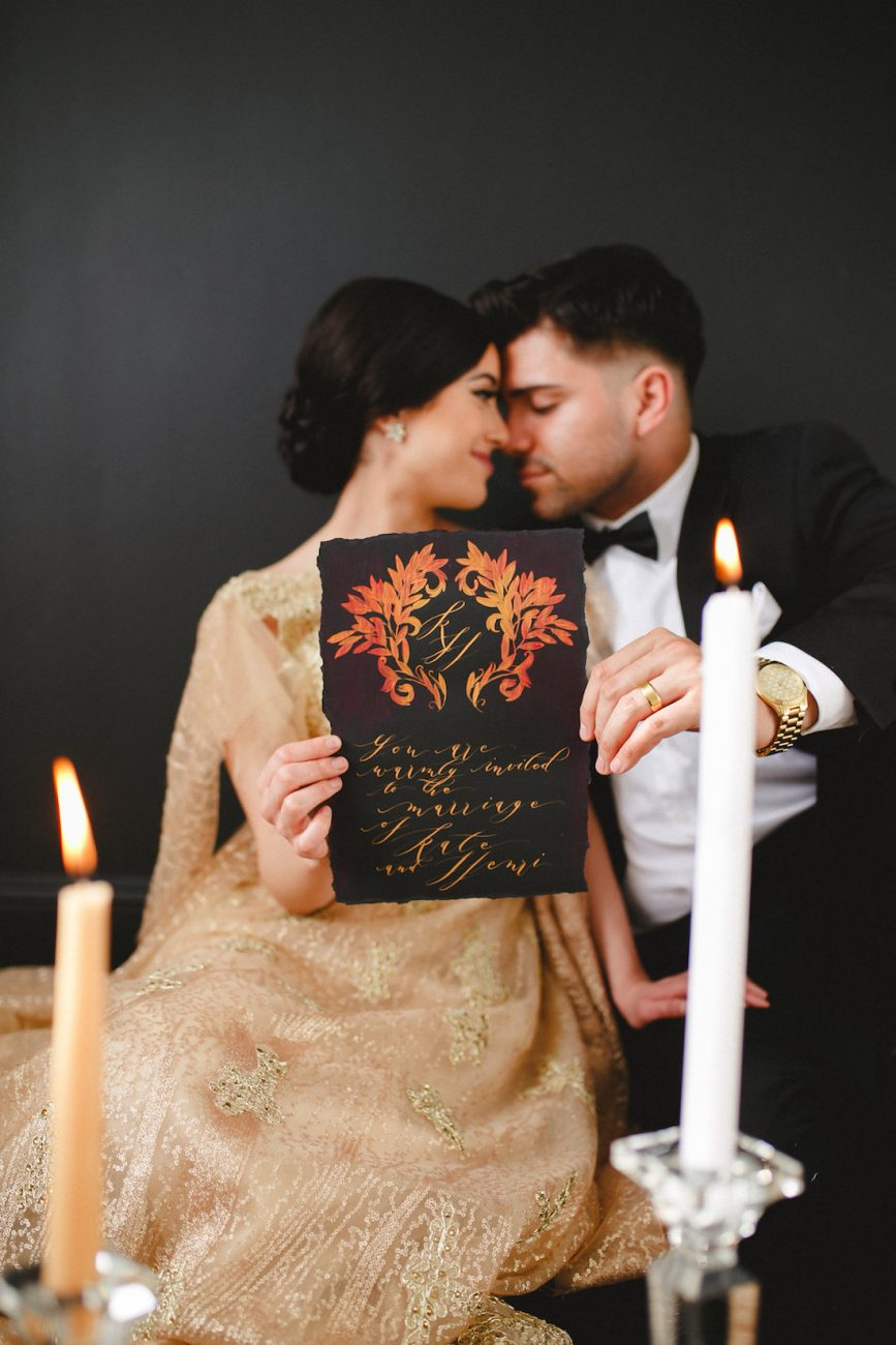 Hand Painted Wedding Invitations with crest gold calligraphy copy