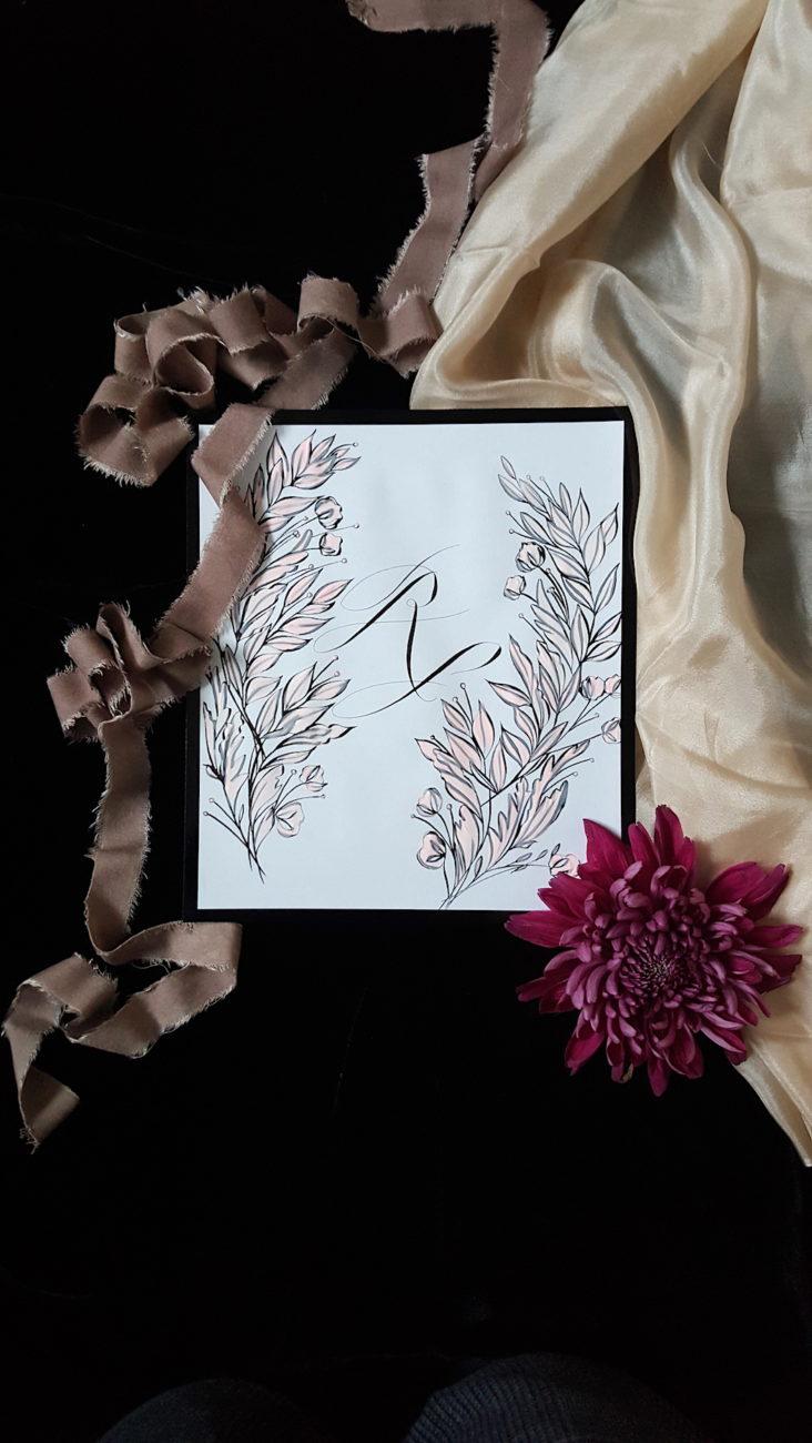 Fine art Wedding Invitations Elysium Monogram Card