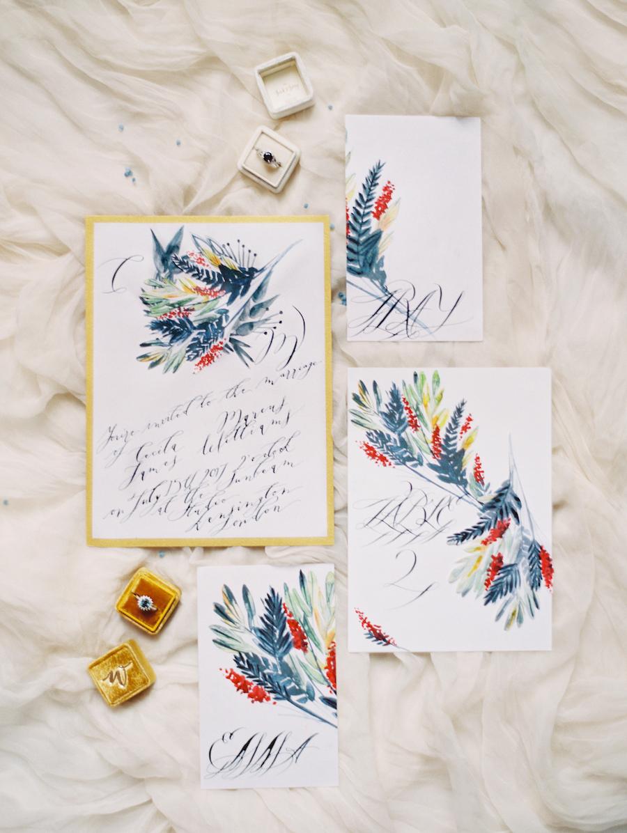 Fine Art Wedding Inspiration with blue watercolour wedding invitation suite