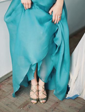 Fine Art Wedding Inspiration blue wedding dress and gold shoes