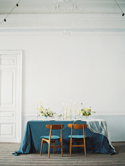 Fine Art Wedding Inspiration full view of wedding table in white classical room