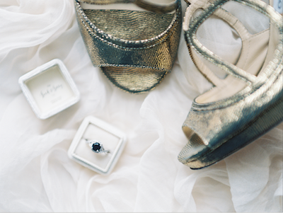 Fine Art Wedding Inspiration gold shoes with white ring box