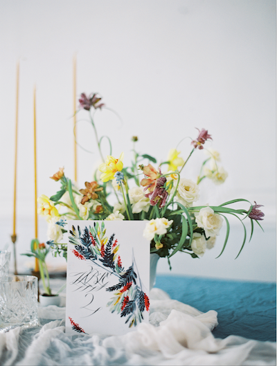 Fine Art Wedding Inspiration hand painted table number