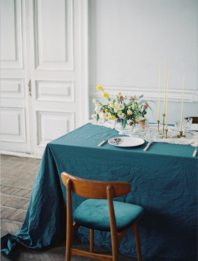 Fine Art Wedding Inspiration tble corner with chair and flowers and candles