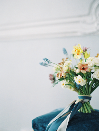 Fine Art Wedding Inspiration wedding flower ideas with blue, pink and yellow colours corner view