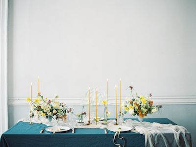 Fine Art Wedding Inspiration wedding table ideas with thin yellow candles