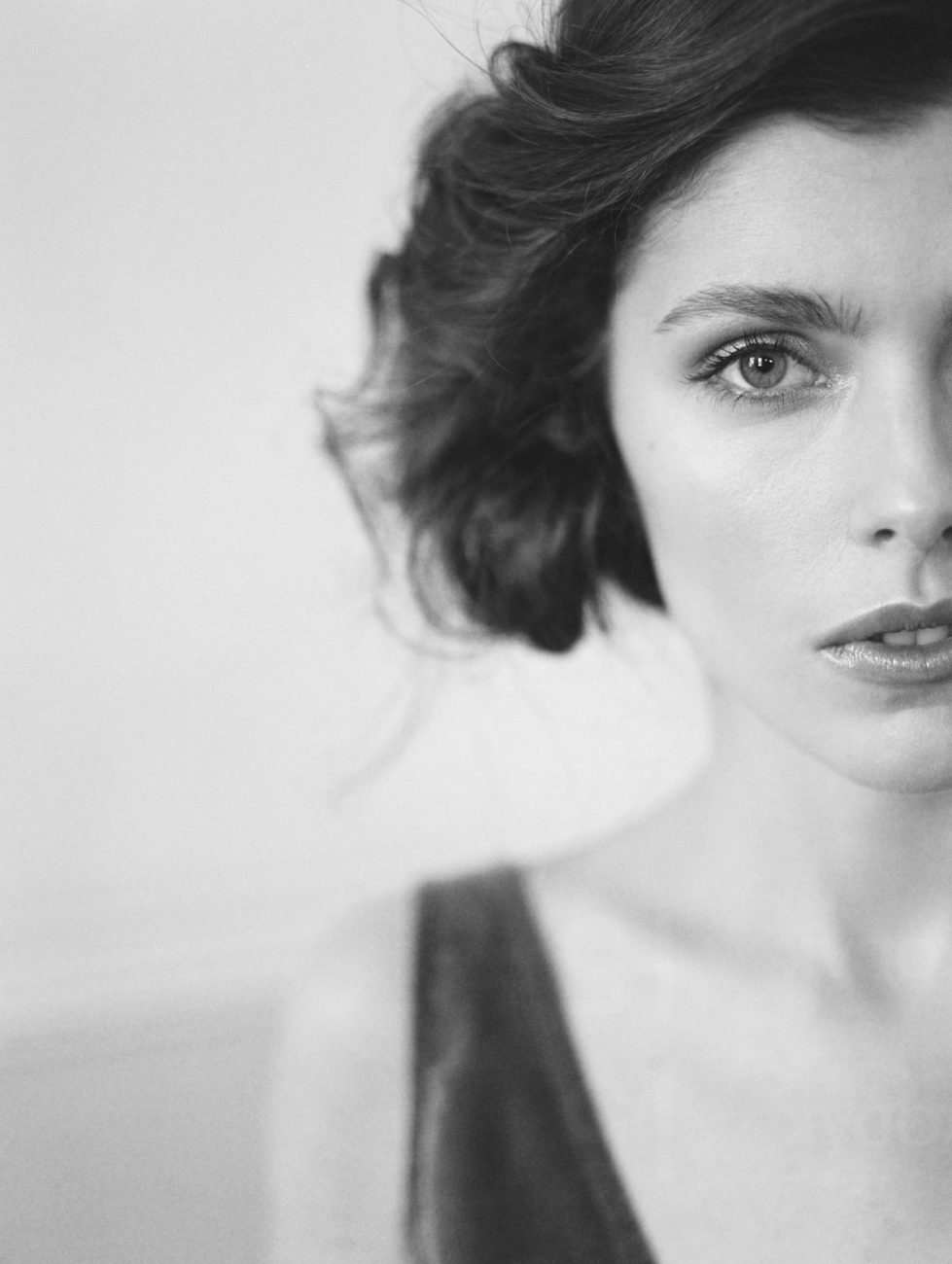 Fine Art Wedding Inspiration with a close up of the bride with a black and white image