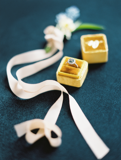 Fine Art Wedding Inspiration yellow velvet ring box with boutonneire and ribbon