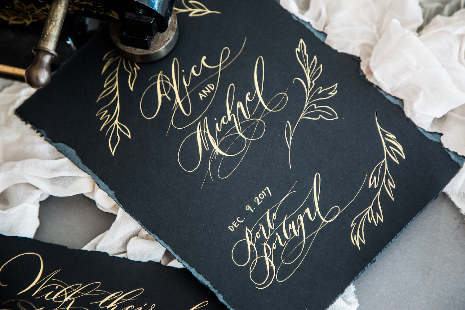 Wedding Invitation Timeline with moody save the date card with gold leaves