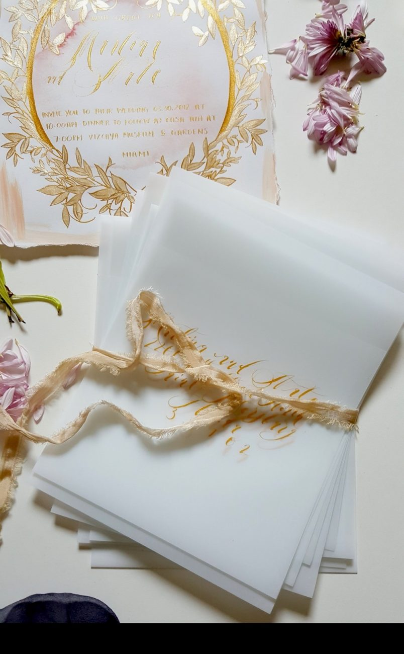 Handwritten Calligraphy Wedding Invitations large vellum envelopes