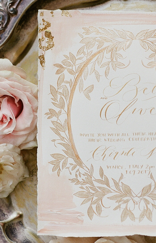 Handwritten Calligraphy Wedding Invitations pale blush invitation card with gold leaves detail