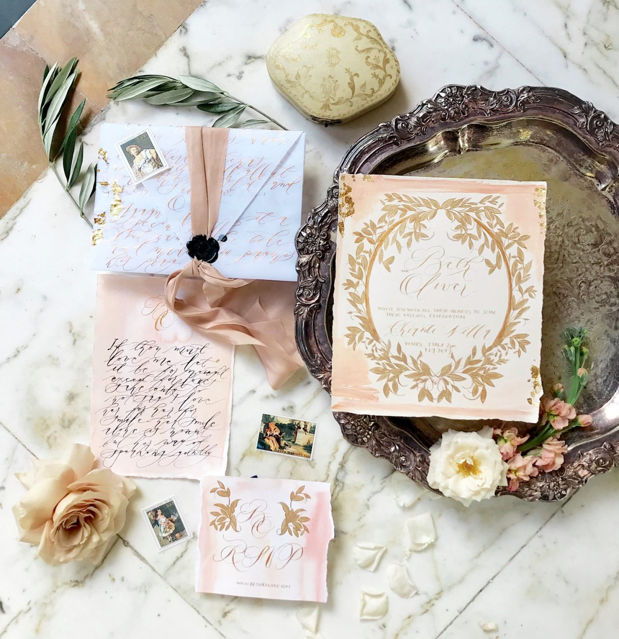 Handwritten Calligraphy Wedding Invitations suite with vellum envelope copy