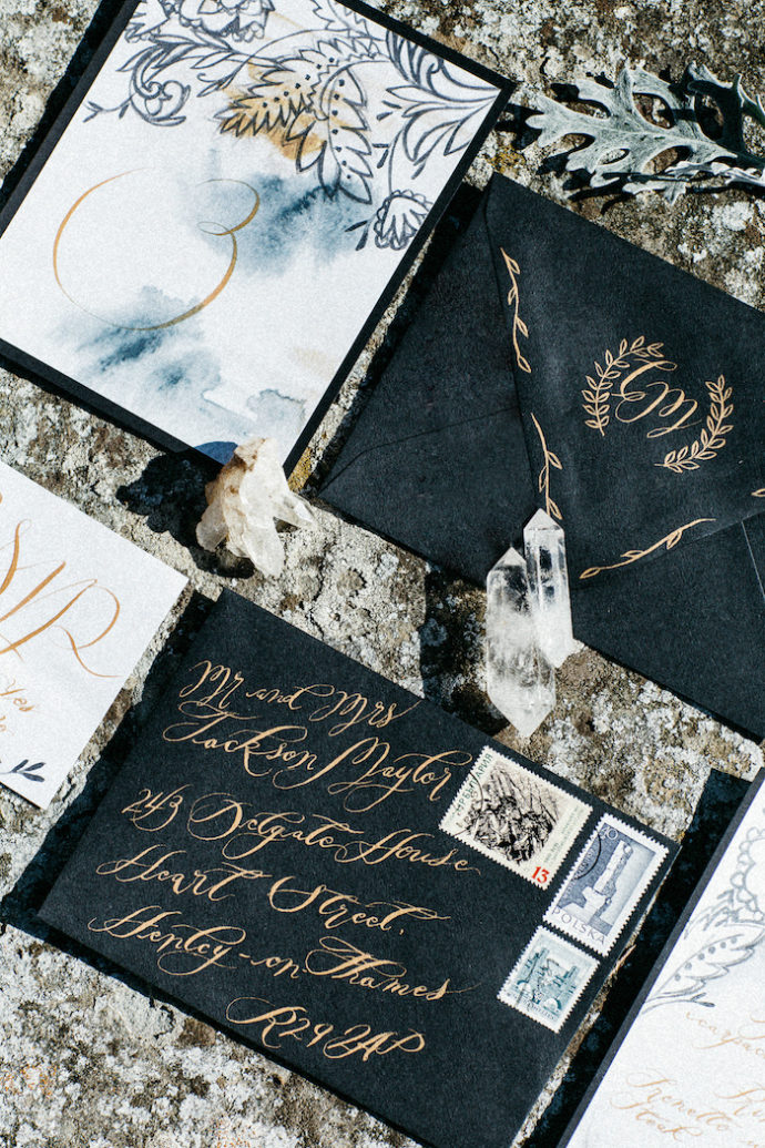 Style-Shoot-in-Tuscany-Italy-black-and-white-wedding-invitations-with-table-number