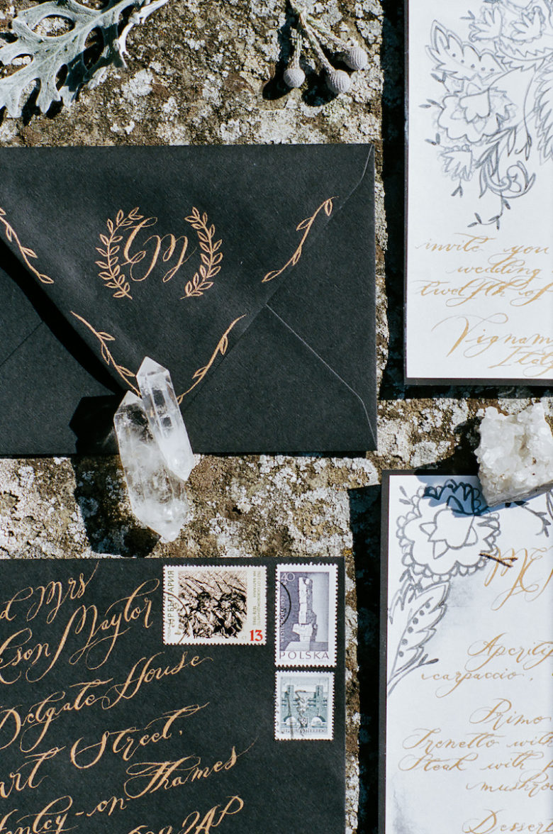 Painted Envelopes_black envelope with gold calligraphy
