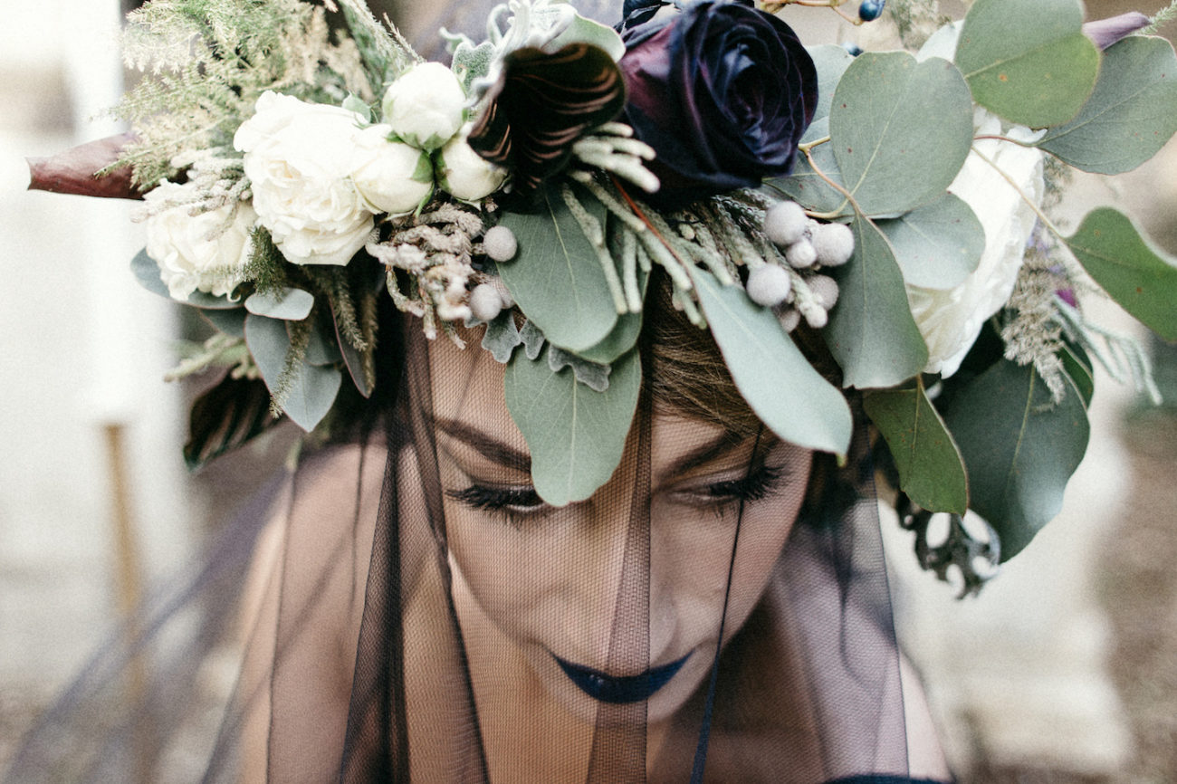 Style Shoot in Tuscany, Italy bride wearng black veil with flower crown with ferns
