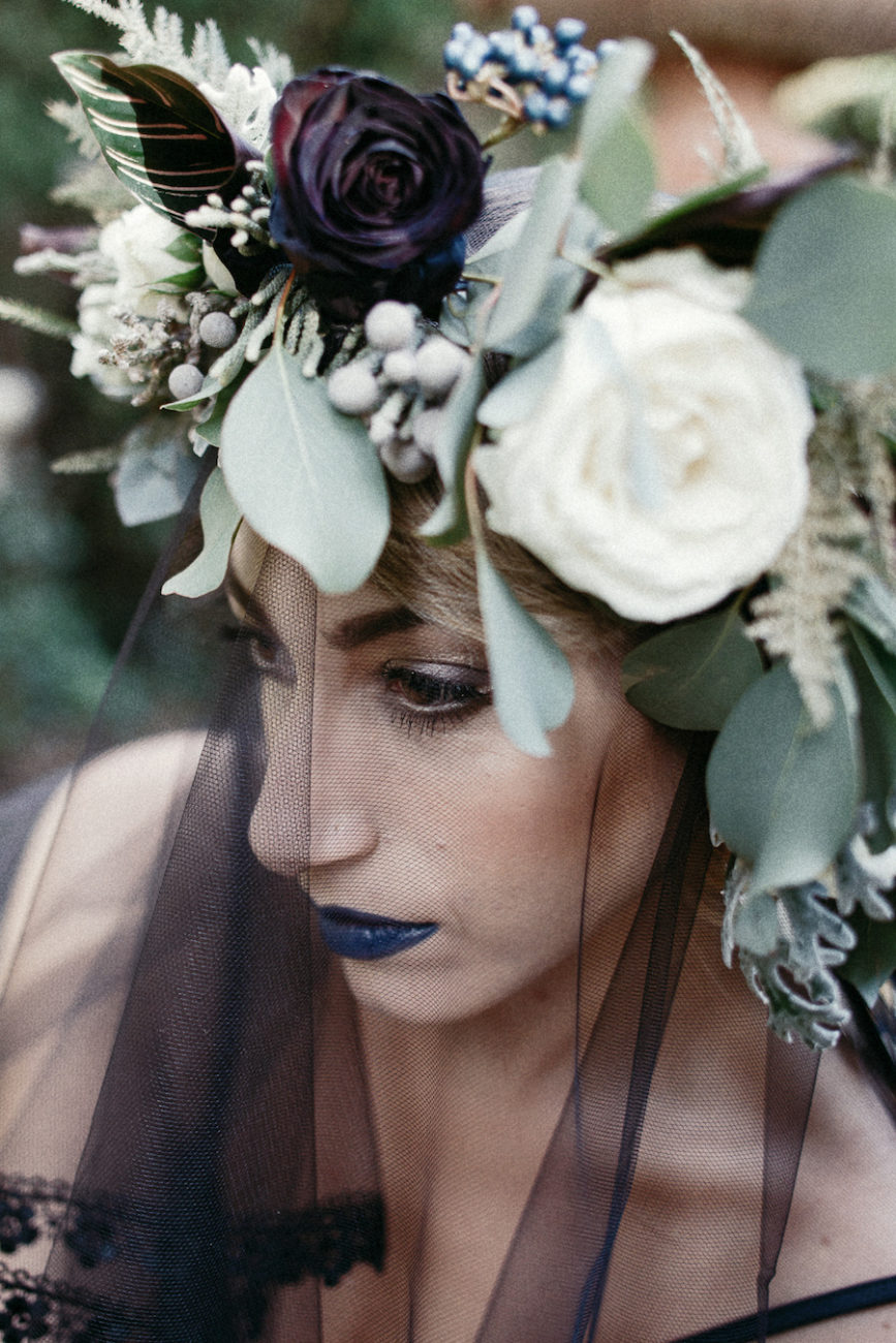 Style Shoot in Tuscany, Italy dark flowers bridal wedding crown